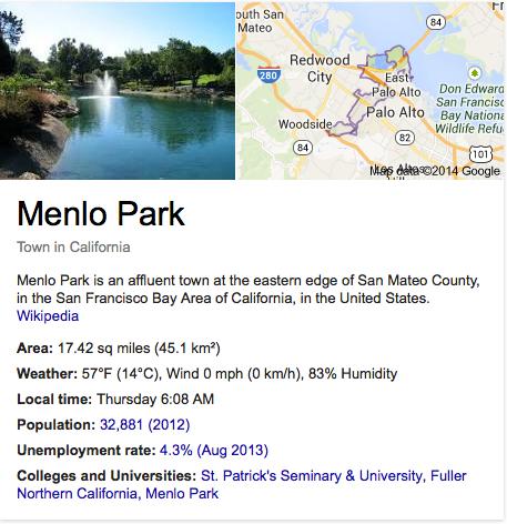 Menlo Park info